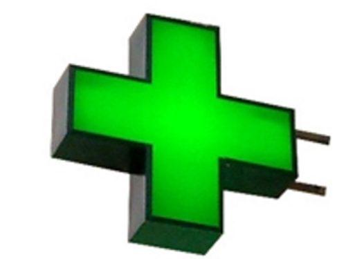 классический крест для аптеки с подсветкой