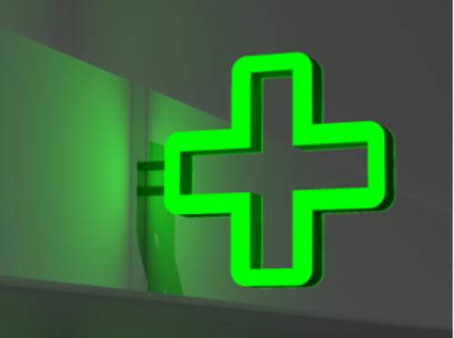 Аптечный крест с зеленой подсветкой